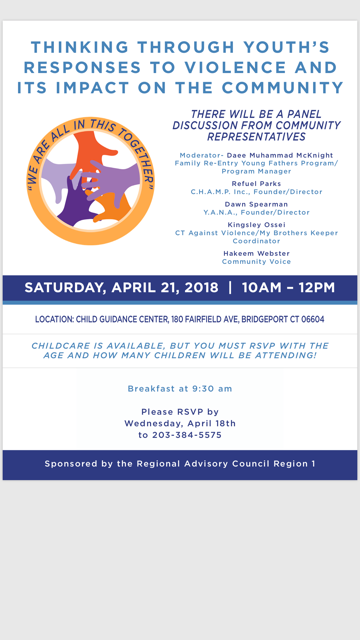 "Family ReEntry's Da'ee McKnight will be Moderating a Panel at ""Responses to Violence and Its Impact on the Community,"" April 21, 2018"